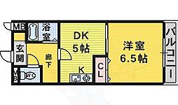 南海高野線 初芝駅 徒歩13分の賃貸マンション 1階1DKの間取り