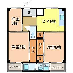 ビレッジハウス加賀田[2105号室]の間取り