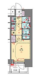 Osaka Metro長堀鶴見緑地線 松屋町駅 徒歩4分の賃貸マンション 12階1Kの間取り