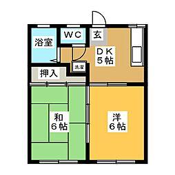 ハイツラヴァントB[2階]の間取り