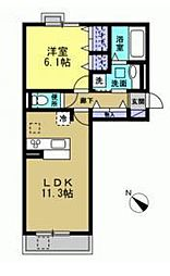 トワ・エ・モア 3階1LDKの間取り