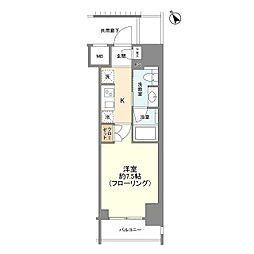JR山手線 新橋駅 徒歩6分の賃貸マンション 5階1Kの間取り