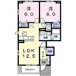 東京都国立市矢川3丁目の賃貸アパートの間取り