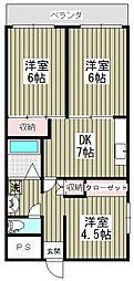 千葉県松戸市二十世紀が丘丸山町の賃貸マンションの間取り