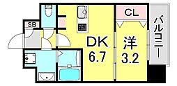 SOAR SINNAGATA 10階1DKの間取り