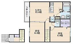 広島県広島市安佐南区八木9丁目の賃貸アパートの間取り