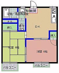 内山コーポ B棟[201号室]の間取り