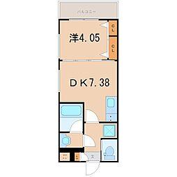 ガレリア大阪空港II 1階1DKの間取り