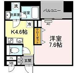 西鉄天神大牟田線 薬院駅 徒歩6分の賃貸マンション 3階1DKの間取り