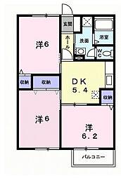 ニューコーポ高屋 B[2階]の間取り