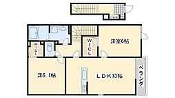 JR阪和線 熊取駅 徒歩17分の賃貸アパート 2階2LDKの間取り