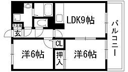 兵庫県川西市萩原2丁目の賃貸マンションの間取り