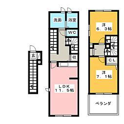 愛知県名古屋市名東区宝が丘の賃貸アパートの間取り