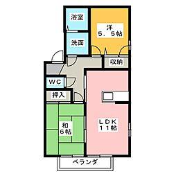 ファミーリオ森山田[2階]の間取り