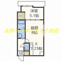 札幌市電2系統 中央区役所前駅 徒歩2分の賃貸マンション 6階1LDKの間取り