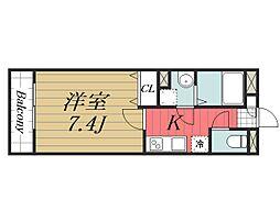 京成本線 公津の杜駅 徒歩8分の賃貸マンション 3階1Kの間取り