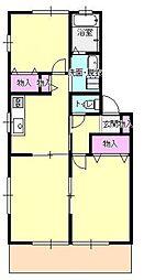 東京都あきる野市原小宮1丁目の賃貸アパートの間取り