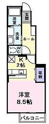 デフィ熊川[102号室]の間取り