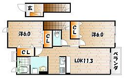 コーポ鷲峰II[2階]の間取り