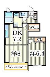 千葉県柏市手賀の杜3丁目の賃貸アパートの間取り