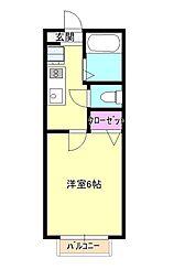 JR青梅線 羽村駅 徒歩10分の賃貸アパート 2階1Kの間取り