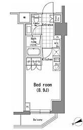 都営大江戸線 汐留駅 徒歩9分の賃貸マンション 3階ワンルームの間取り