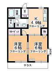 第3中平野ハウス[101号室]の間取り