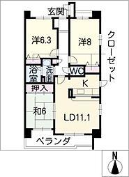 サンコート桃花台 B棟[5階]の間取り