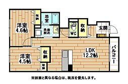 JR鹿児島本線 水巻駅 4.1kmの賃貸アパート 1階2LDKの間取り