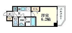 プレサンス心斎橋クオーレ 10階1Kの間取り