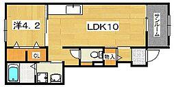 サニーフラット2[1階]の間取り