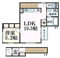 アベニール 2階1LDKの間取り