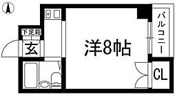 大阪府池田市住吉2丁目の賃貸マンションの間取り