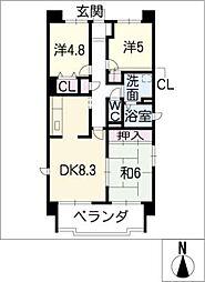 サンコート桃花台 D棟[5階]の間取り