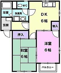 愛知県清須市西須ケ口の賃貸アパートの間取り