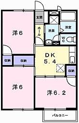 兵庫県姫路市飯田2丁目の賃貸アパートの間取り