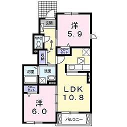 アライブ K[1階]の間取り