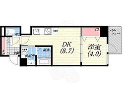 阪神本線 西宮駅 徒歩5分の賃貸マンション 3階1DKの間取り
