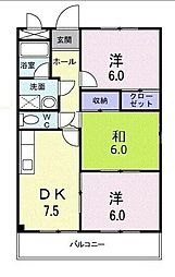 JR南武線 矢川駅 徒歩14分の賃貸マンション 1階3DKの間取り