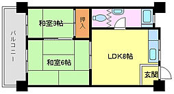 旭ヶ丘マンション[3階]の間取り