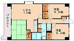 福岡県春日市上白水10丁目の賃貸マンションの間取り