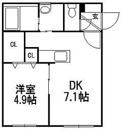 クーデクール北円山[2階]の間取り