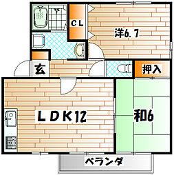 ウィステリア中吉田ⅡA[2階]の間取り