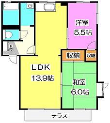 埼玉県所沢市中富南1丁目の賃貸アパートの間取り