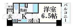 プレサンス神戸キュリオ 13階1Kの間取り