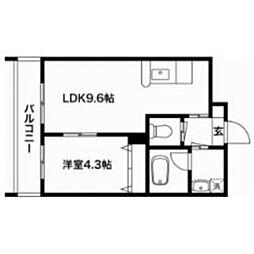 熊本県熊本市中央区新屋敷1丁目の賃貸マンションの間取り