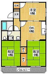 大阪府堺市東区日置荘北町2丁の賃貸マンションの間取り
