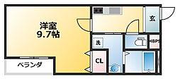 フジパレス東淀川2番館 2階1Kの間取り