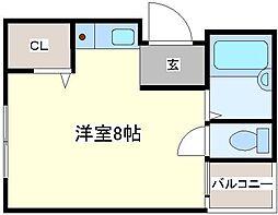 コスモ初芝[3階]の間取り
