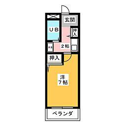 ニューコーポ與語[4階]の間取り